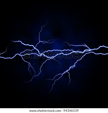 electrical white blue lightnings over dark background