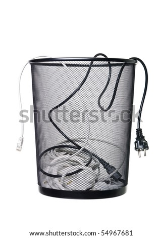 Electrical wires in a wastebasket isolated on white background