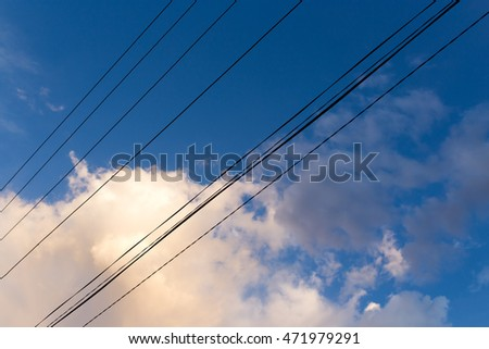 electrical wires on a background of night sky #471979291