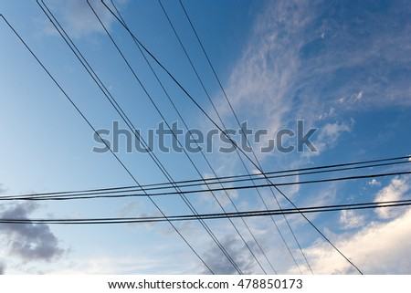 electrical wires on a background of night sky #478850173