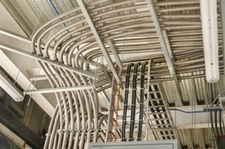 Electrical Wiring and Conduit Electrical tubing used to arrange properly the energy distribution on a construction