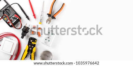 electrician equipment on white background with copy space. top view Stock photo ©