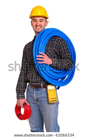 Electrician worker with tools isolated on white background.