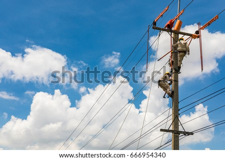 Electrician works in the height.  #666954340