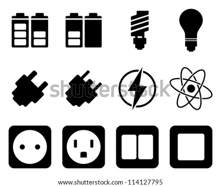 Electricity and energy icon set.Raster version.