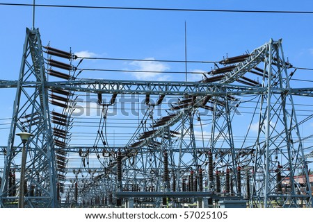 Electricity and power generation industry in Poland. Voltage transformation substation.
