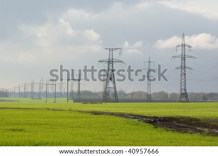 Electricity and winter-crops fields