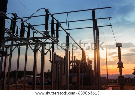 Electricity Authority Station, power plant, energy concept, evening sky #639063613