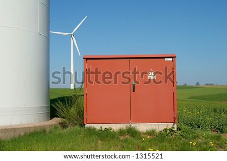 electricity box with wind energy plant in background