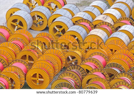 electricity cable on wooden spools