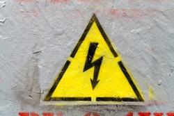 Electricity caution sign, danger sign, beware of electricity, high voltage