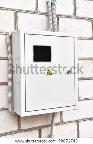 Electricity control box on house wall