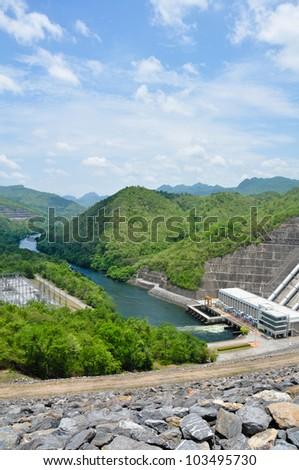 Electricity Generator front of Sri Nakharin Dam, Kanchanaburi, Thailand