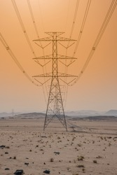 Electricity lines through Desserts and dessert landscape