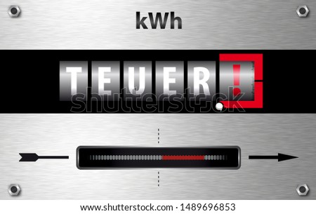Electricity meter illustration with German word meaning expensive
