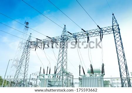 Electricity plant,electricity station,landscape over blue sky