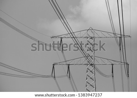 Electricity pole with electricity lines. #1383947237