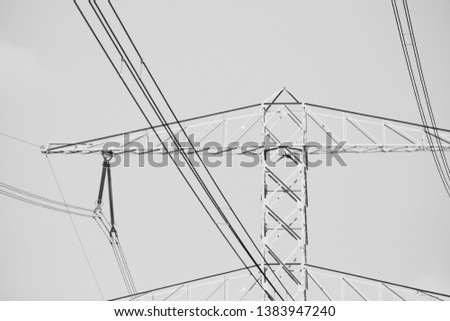 Electricity pole with electricity lines. #1383947240