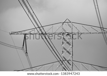 Electricity pole with electricity lines. #1383947243