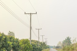 Electricity poles at the roadside