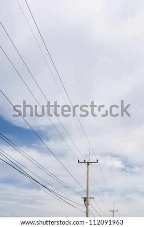 Electricity post and blue sky in Thailand
