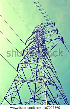 Electricity post as vintage background