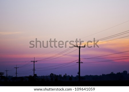 Electricity post on early morning #109641059