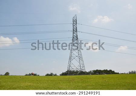 electricity power pylon in the green grass golf club