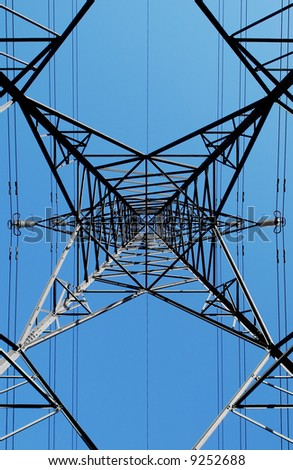 electricity pylon abstract on blue sky - stock photo