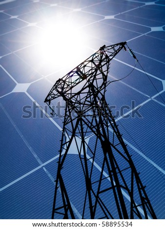 Electricity pylon and photovoltaic panel