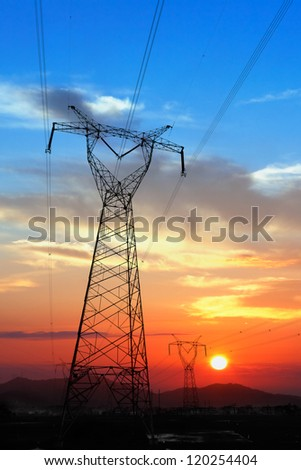 Electricity Pylon at amazing colorful of sunset