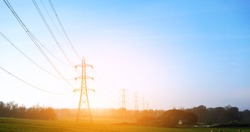 Electricity pylon in a field with blue sky.