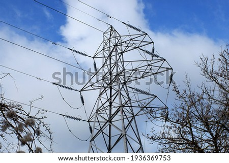 Electricity pylon in woodland, Hertfordshire, England, UK Photo stock ©