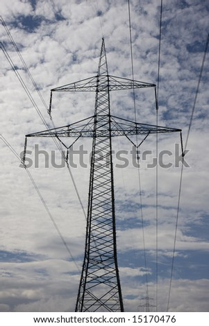 electricity pylon on a cloudy day