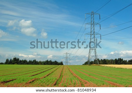 electricity pylons along agricultural field in Shropshire, UK