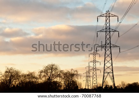 Electricity pylons, power lines and trees silhouetted against a cloudy sky at sunrise.
