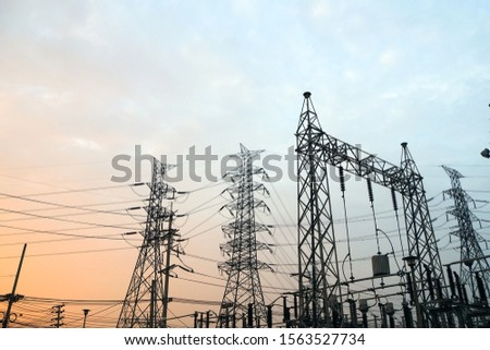 Electricity pylons with a sky background #1563527734