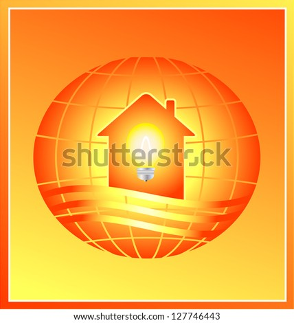 electricity sign in modern house silhouette on planet background