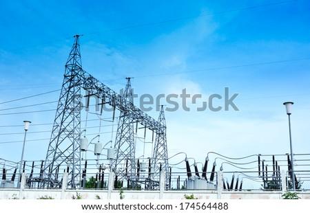 Electricity station, Electricity plant landscape over blue sky
