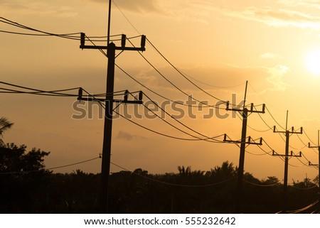 Electricity Sunset Landscape. #555232642