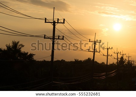 Electricity Sunset Landscape. #555232681