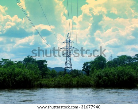 electricity tower on a river