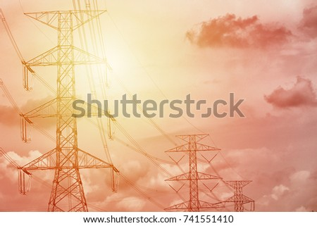 electricity towers, electricity power line and tower in sunset