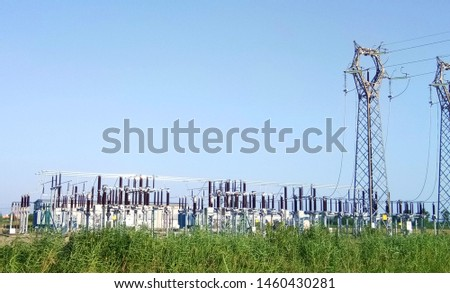 Electricity transmission. Electricity distribution station. town iloma city Italy.