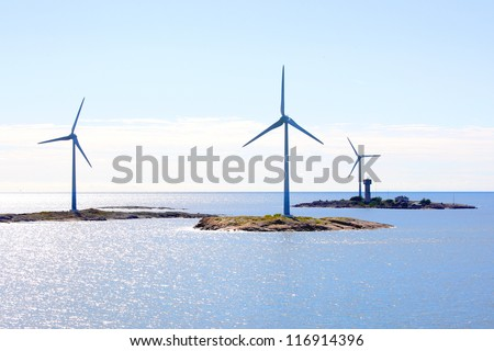 Electricity wind generators at Baltic Sea in Aland region.