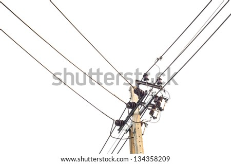 Electricity wire line with white bright sky