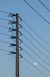 Electrification poles with late afternoon sky in the background.