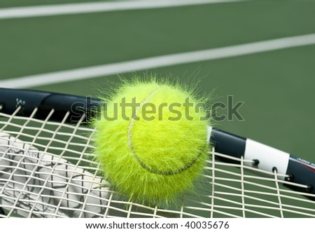 Electrified funny tennis ball on a racquet