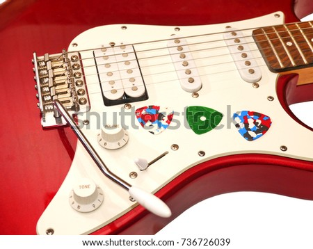 Electro guitar and picks/Electro guitar and guitar picks/Electro guitar and plectrums #736726039
