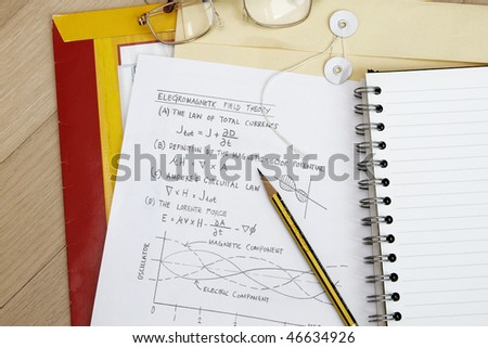 Electro magnetic field theory with sketch and equation.
